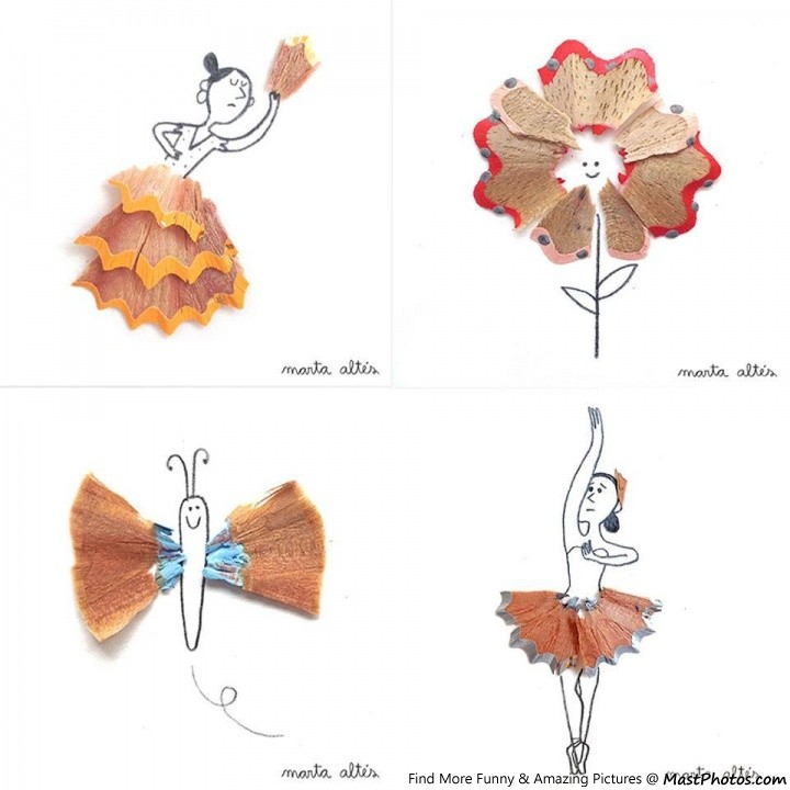 Creative pencil shaving art for Best out of waste creative things